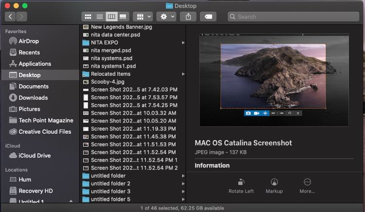 mac os catalina saved screenshots