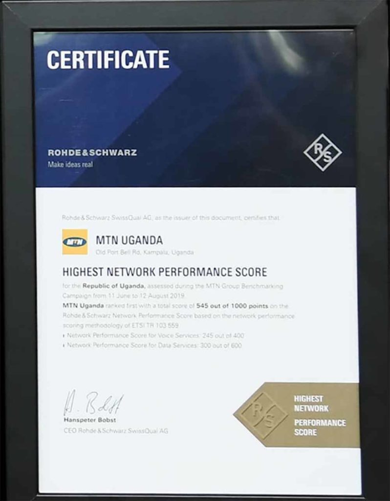 MTN network perfomance award