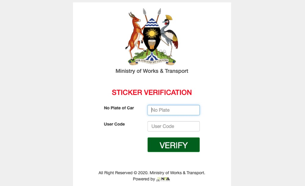 ministry of works car verification system