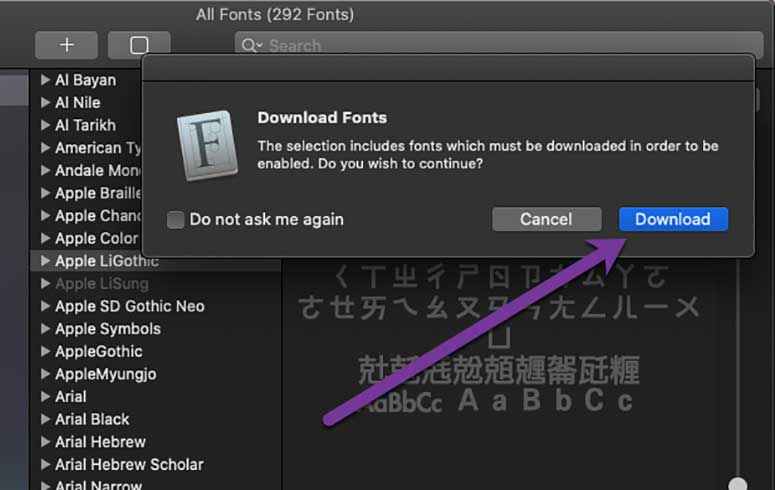 downloading fonts with Font Book on Mac