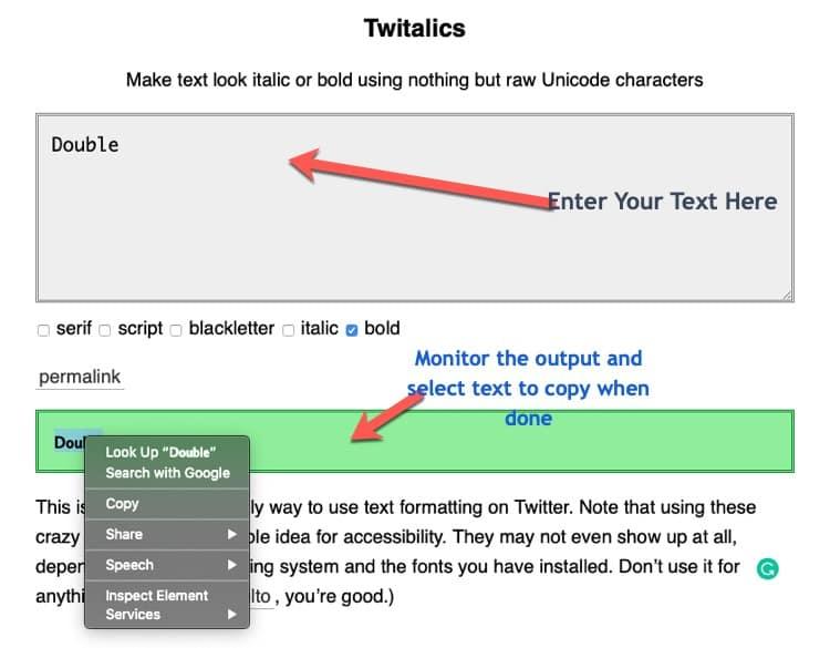Twitalics tweets style tool