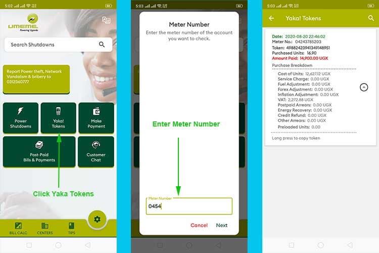 Using the UMEME App to retrieve Yaka Tokens