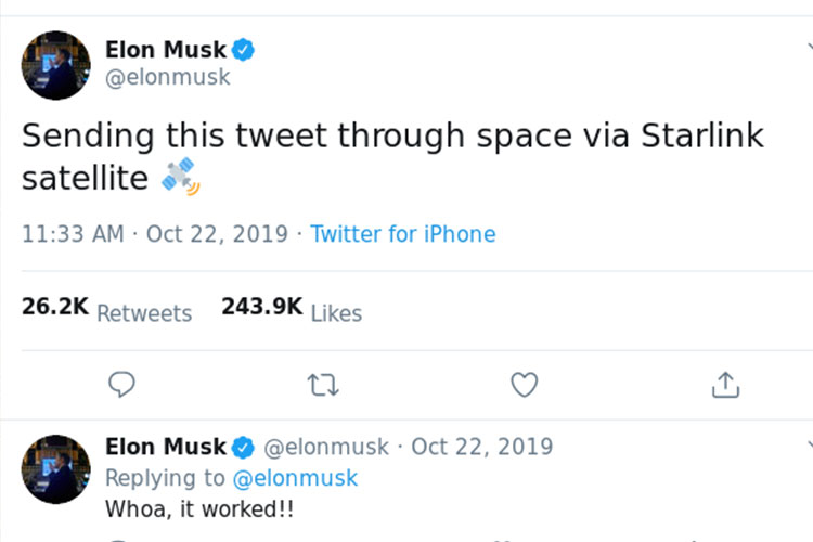 Elonmusj Tweet on Starlink Internet