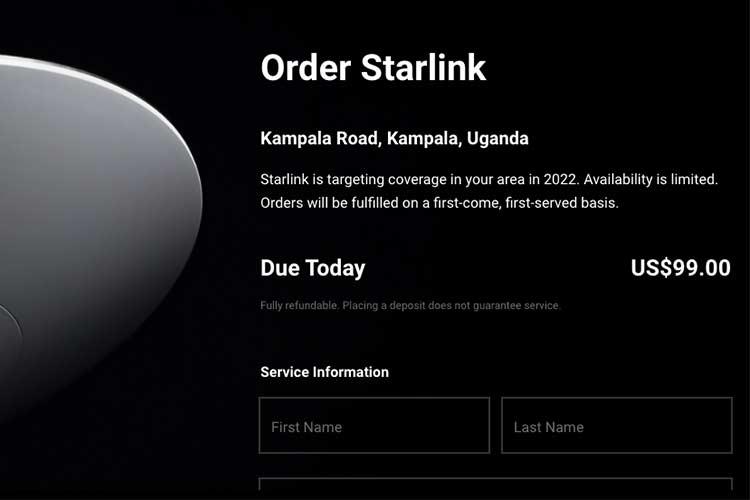 starlink internet order form