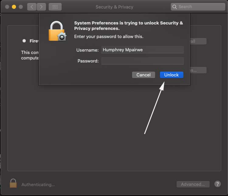 unlock firewall on mac
