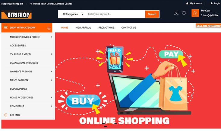 afrishop onlien shopping website runs on huawei cloud