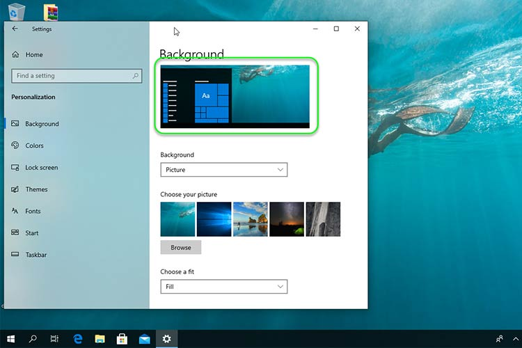how to change windows background