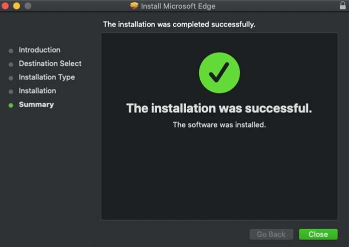 successful microsoft edge installation for mac
