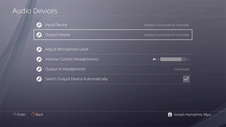 Playstation 4 Output device settings