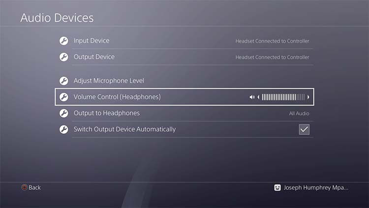 Playstation 4 Headphones Volume Control