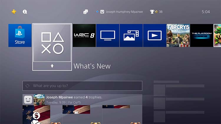 Playstation 4 main dashboard and games list
