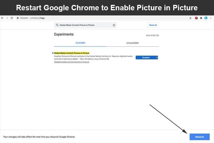 Restart Google Chrome to enable picture in picture mode
