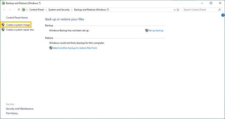 Windows 10 System Image tool