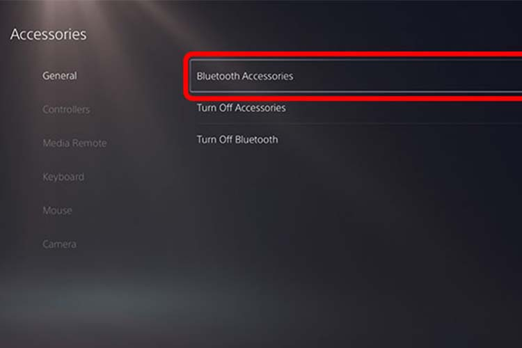 PS5 Bluetooth Accessories Settings