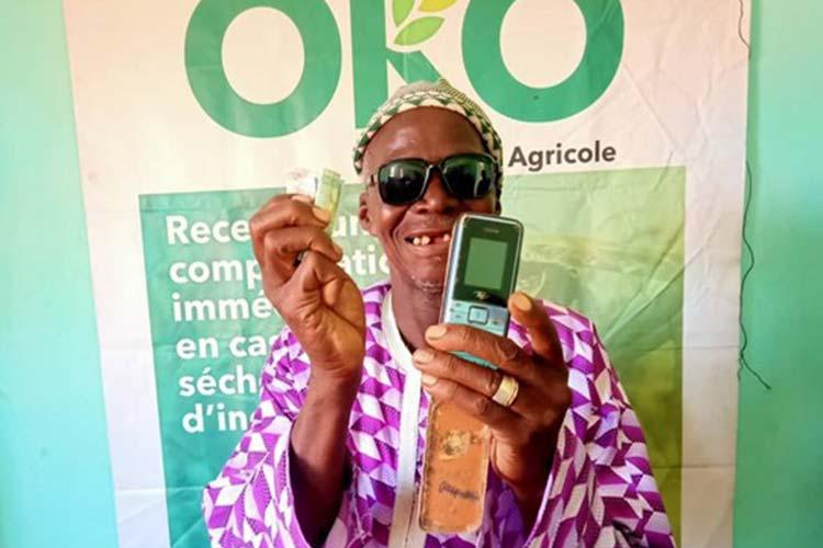 A Farmer using the OKO Insurtech APP