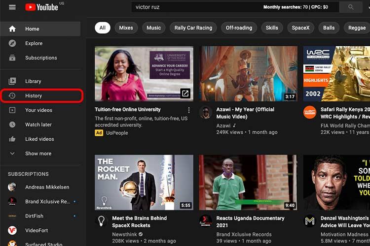 Delete Youtube Watch History on Desktop