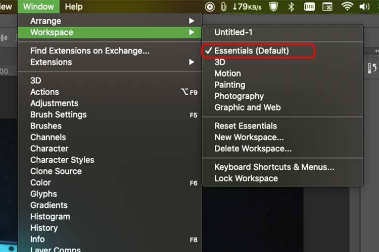 How to Switch Adobe Photoshop Workspaces