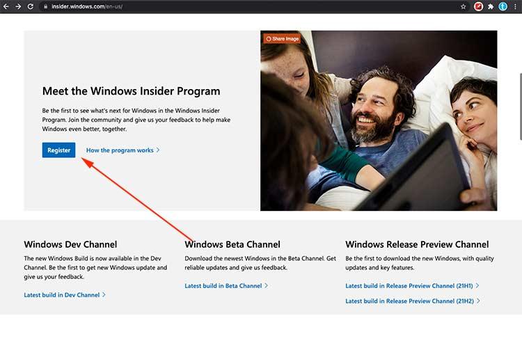 Windows Insider Program Register Button