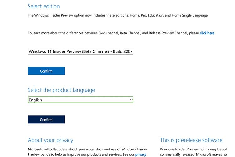 Windows 11 Insider Preview Language selection